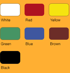 white - red - yellow - green - blue - brown - black